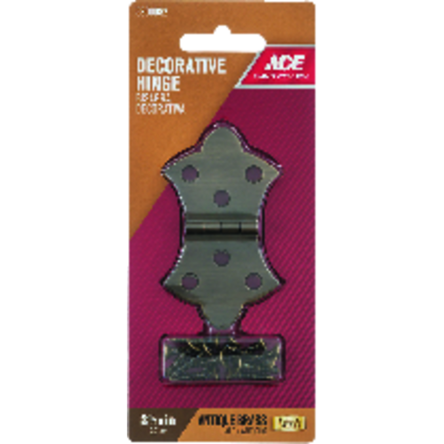 Ace  1-11/16 in. W x 3-1/16 in. L Antique Brass  Brass  Decorative Hinge  2 pk