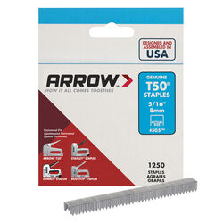 Arrow Fastener  T50  3/8 in. W x 5/16 in. L 18 Ga. Flat Crown  Heavy Duty Staples  1250 pk