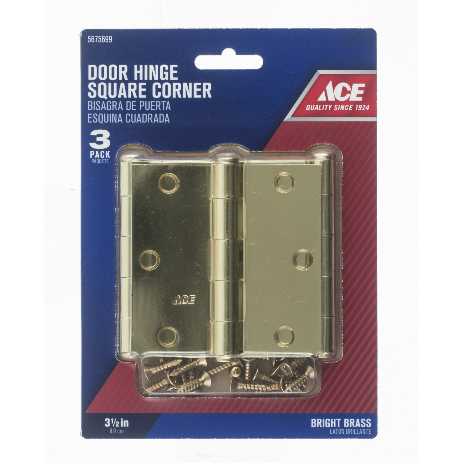 Ace  3-1/2 in. L Bright Brass  Steel  Door Hinge  3 pk