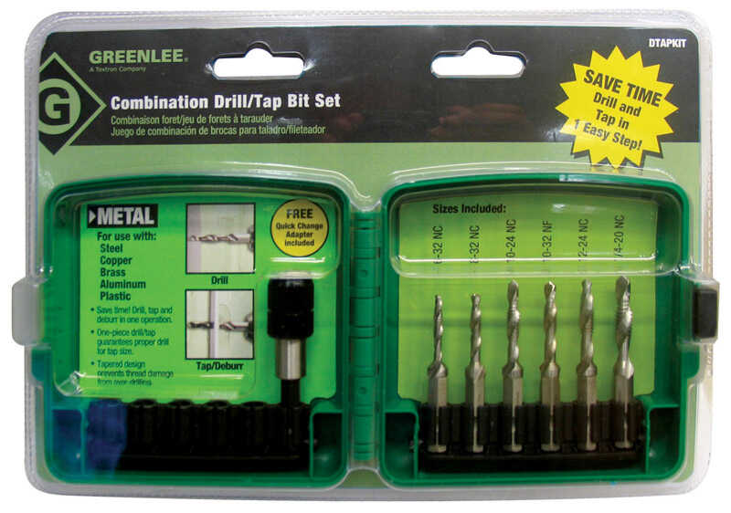Greenlee  6-32 to 1/4-20 in. Dia. x 12.7 in. L High Speed Steel  1/4 in. Hex Shank  Drill and Tap Bi