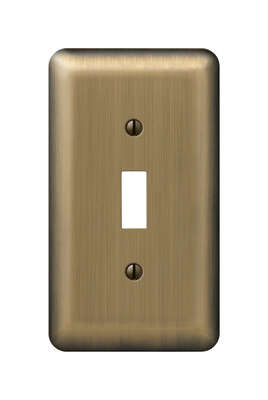 Amerelle  Devon  Brushed Brass  1 gang Stamped Steel  Toggle  Wall Plate  1 pk