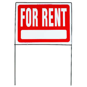 Hy-Ko  English  24 in. W x 18 in. H For Rent  Sign  Plastic