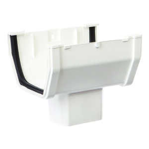 Raingo  6  L x 2 in. H x 5 in. W Vinyl  White  Gutter Drop Outlet