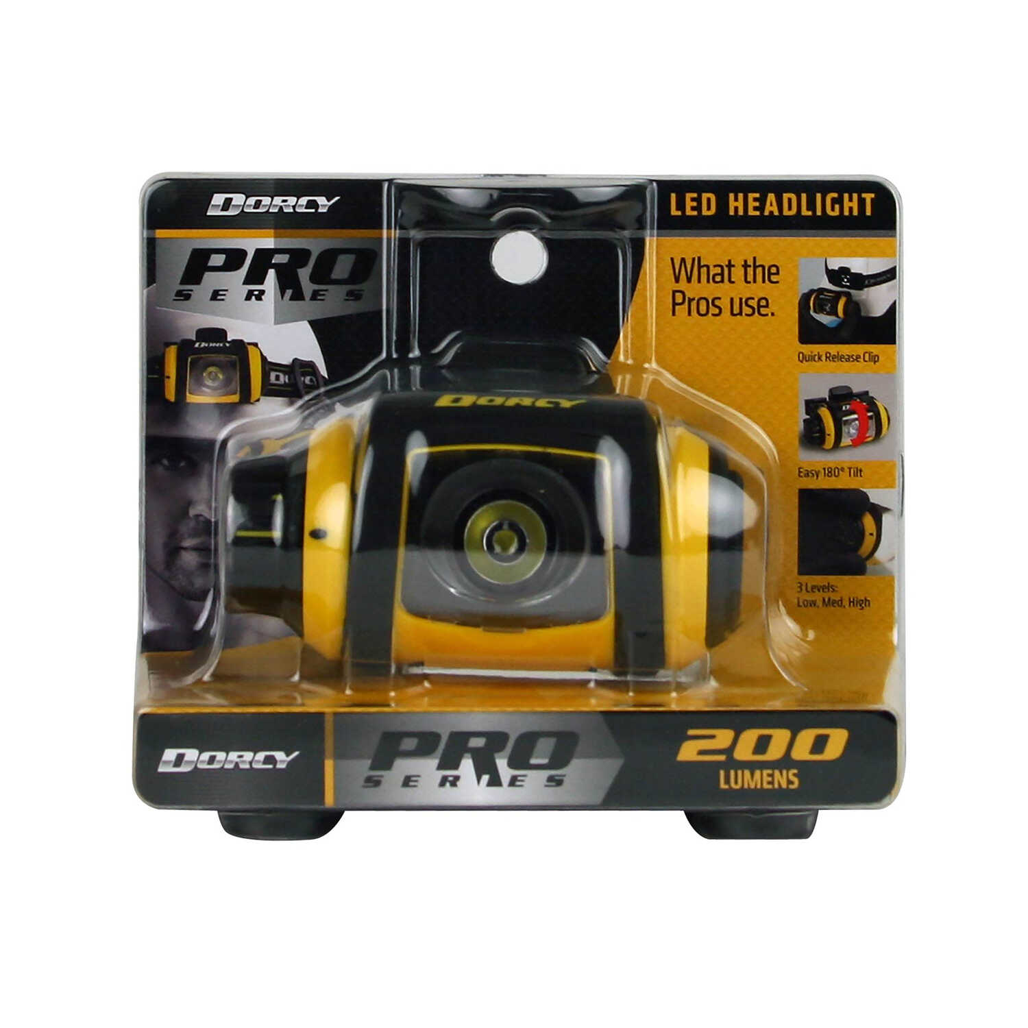 Dorcy  Pro Series  200 lumens Black & Yellow  LED  Headlight  AA