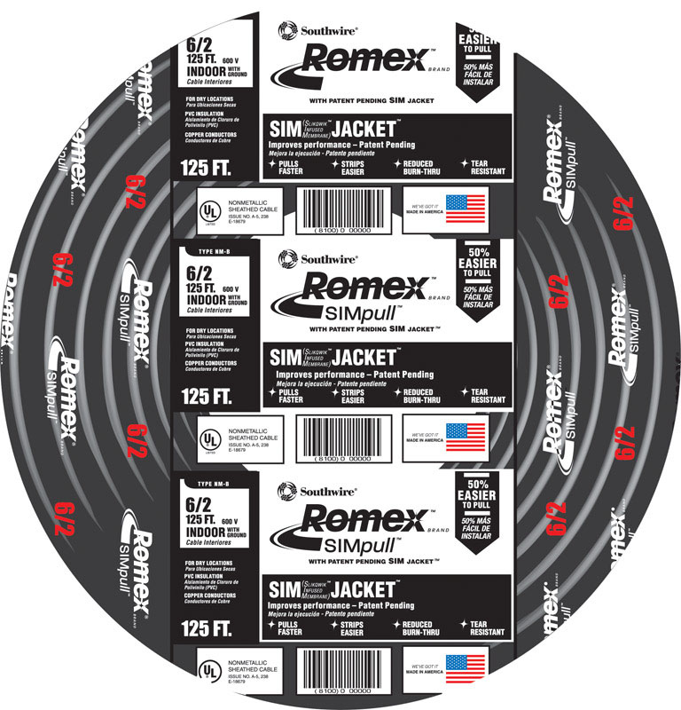 Southwire 125 ft. 6/2 Stranded Romex Type NM-B WG Non-Metallic Wire ...