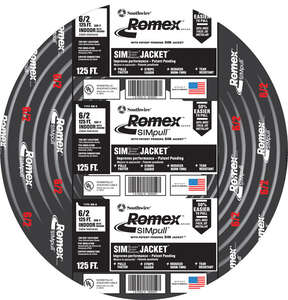 Southwire  125 ft. 6/2  Stranded  Romex Type NM-B WG Non-Metallic  Wire