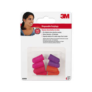 3M  32 dB Disposable  Soft Foam  Ear Plugs  Orange/Purple  4 pair