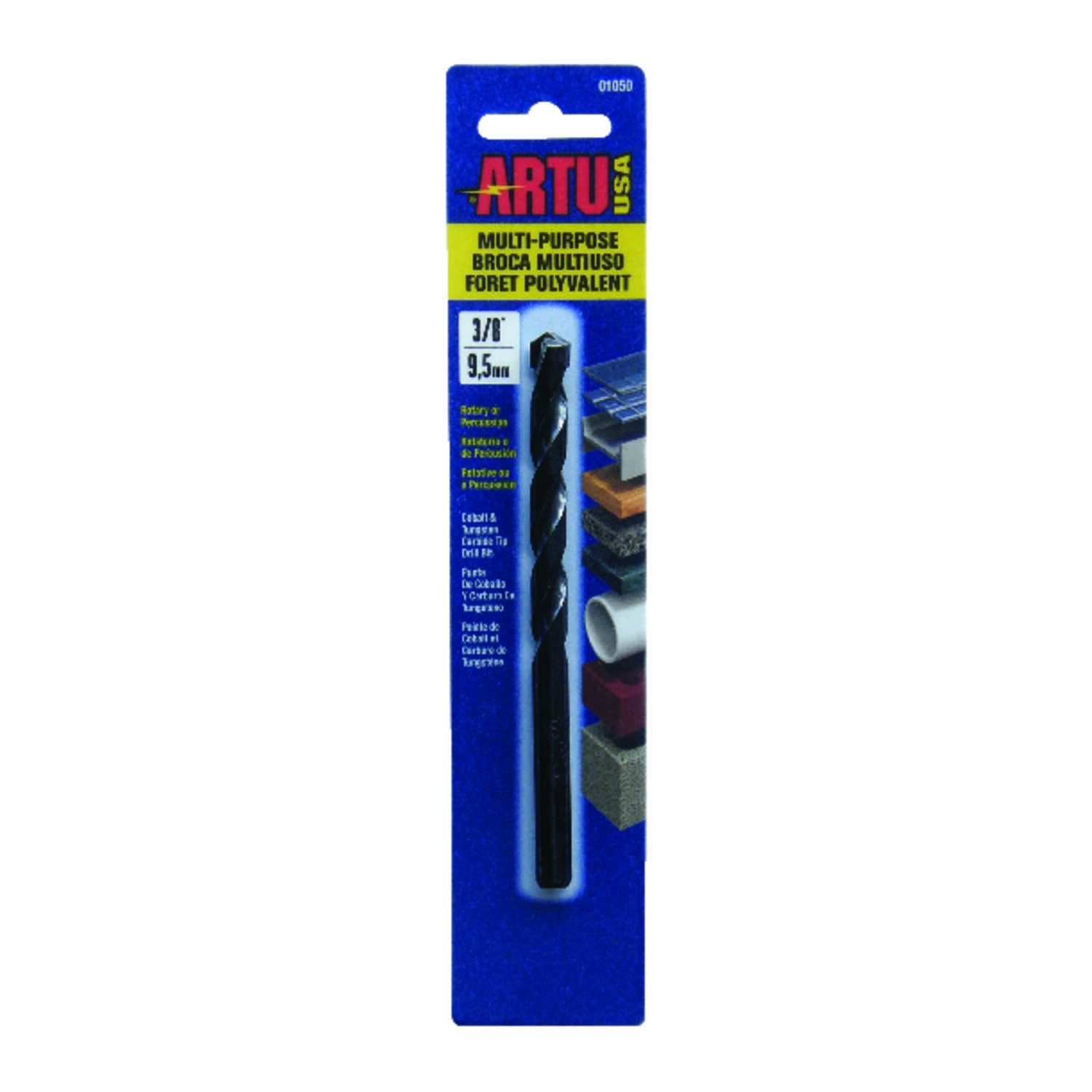 ARTU  3/8 in. Dia. x 5-1/4 in. L Tungsten Carbide Tipped  General Purpose Drill Bit  3/8 in. Straigh