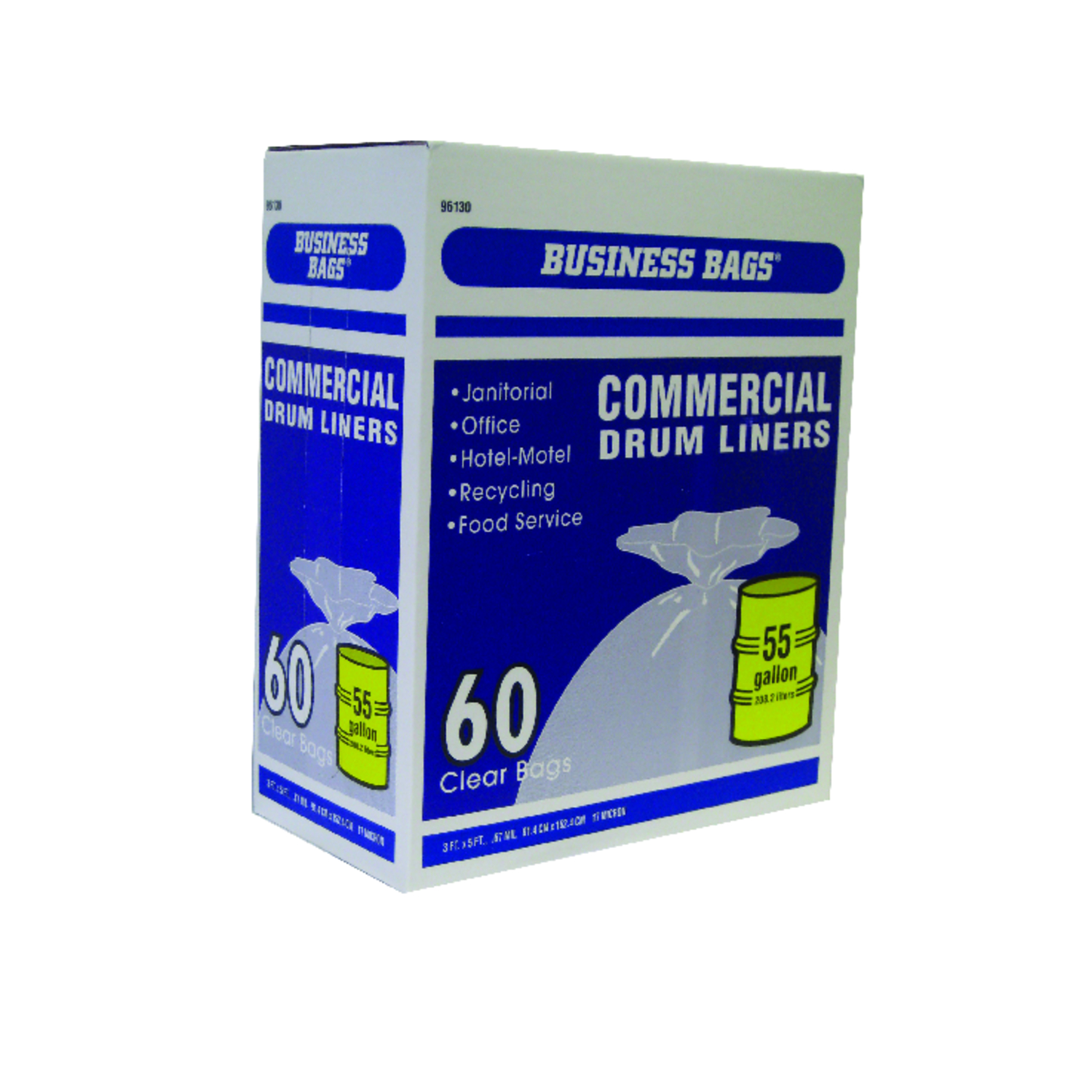 Business Bags  55 gal. Commercial Drum/Can Liners  Twist Tie  60 pk