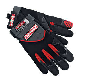 Craftsman  Men's  Indoor/Outdoor  Suede/Synthetic Leather/Terry Cloth  Mechanic  Gloves  Black  M