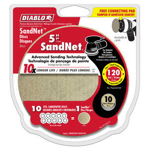 Diablo  SandNet  5 in. Aluminum Oxide  Hook and Lock  Sanding Disc  120 Grit Fine  10 pk
