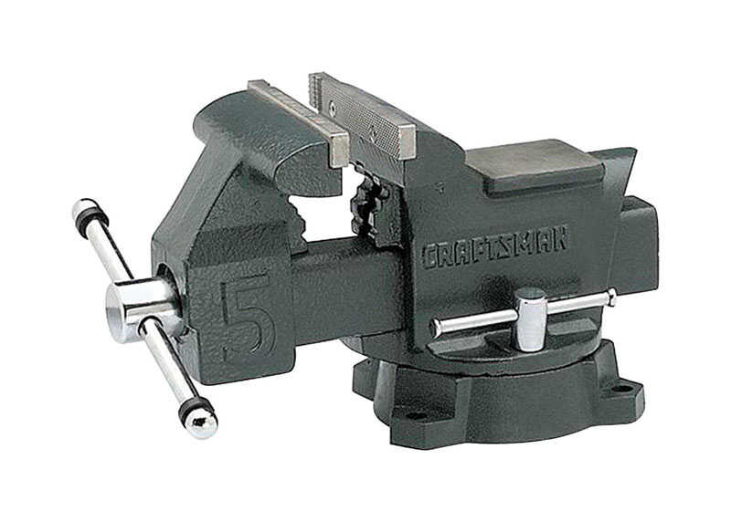 Craftsman  5.5 in. Steel  Bench Vise  Gray  Swivel Base