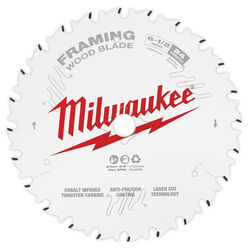 Milwaukee  6-1/2 in. Dia. x 5/8 in.  Framing  Tungsten Carbide Tipped  Circular Saw Blade  24 teeth