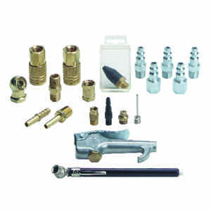 Tru-Flate  Brass/Steel  Air Coupler and Plug Set  1/4 in. Female  19 pc.