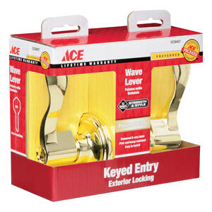 Ace  Wave  Polished Brass  Entry Lockset  ANSI Grade 3  1-3/4 in.