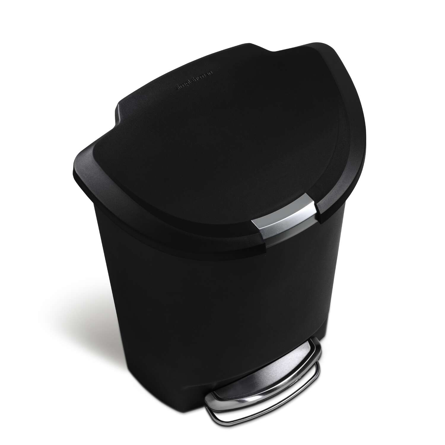 simplehuman  Black  Semi-Round Step  Wastebasket  14.5