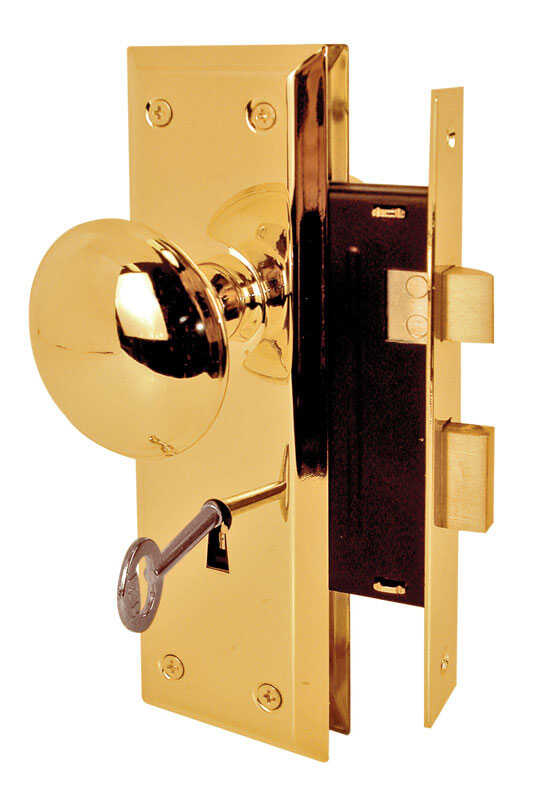 Prime-Line  Bright Brass  Steel  Grade 1  1-3/4 in. Mortise Lockset