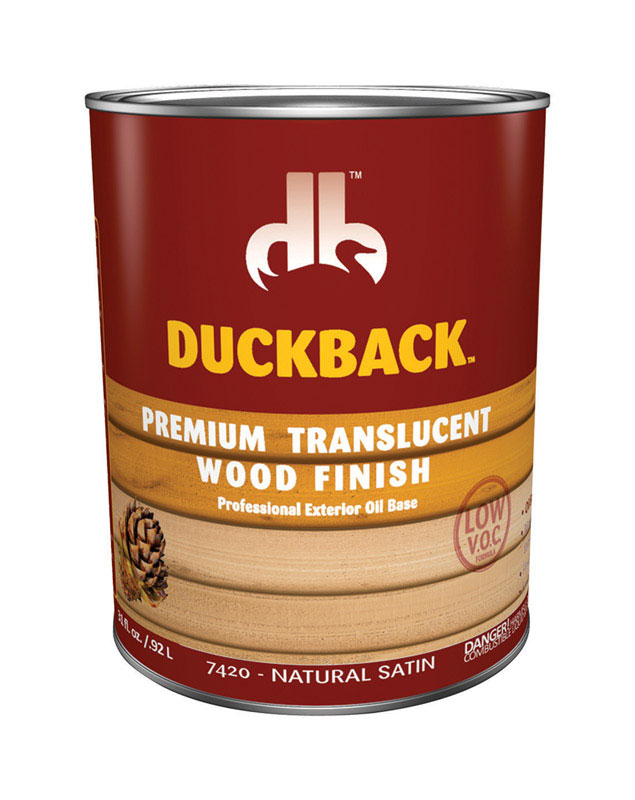 Duckback  Premium  Transparent  Satin  Natural Satin  Penetrating Oil  Wood Finish  1 qt.