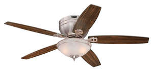 Westinghouse  Carolina  5.43  52 in. W Indoor  Brushed Nickel  5 blade Ceiling Fan