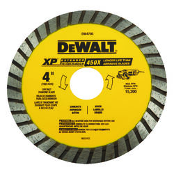 DeWalt  4 in. Dia. x 7/8 in.  XP Extended Performance  Diamond  Masonry Blade  1 pk