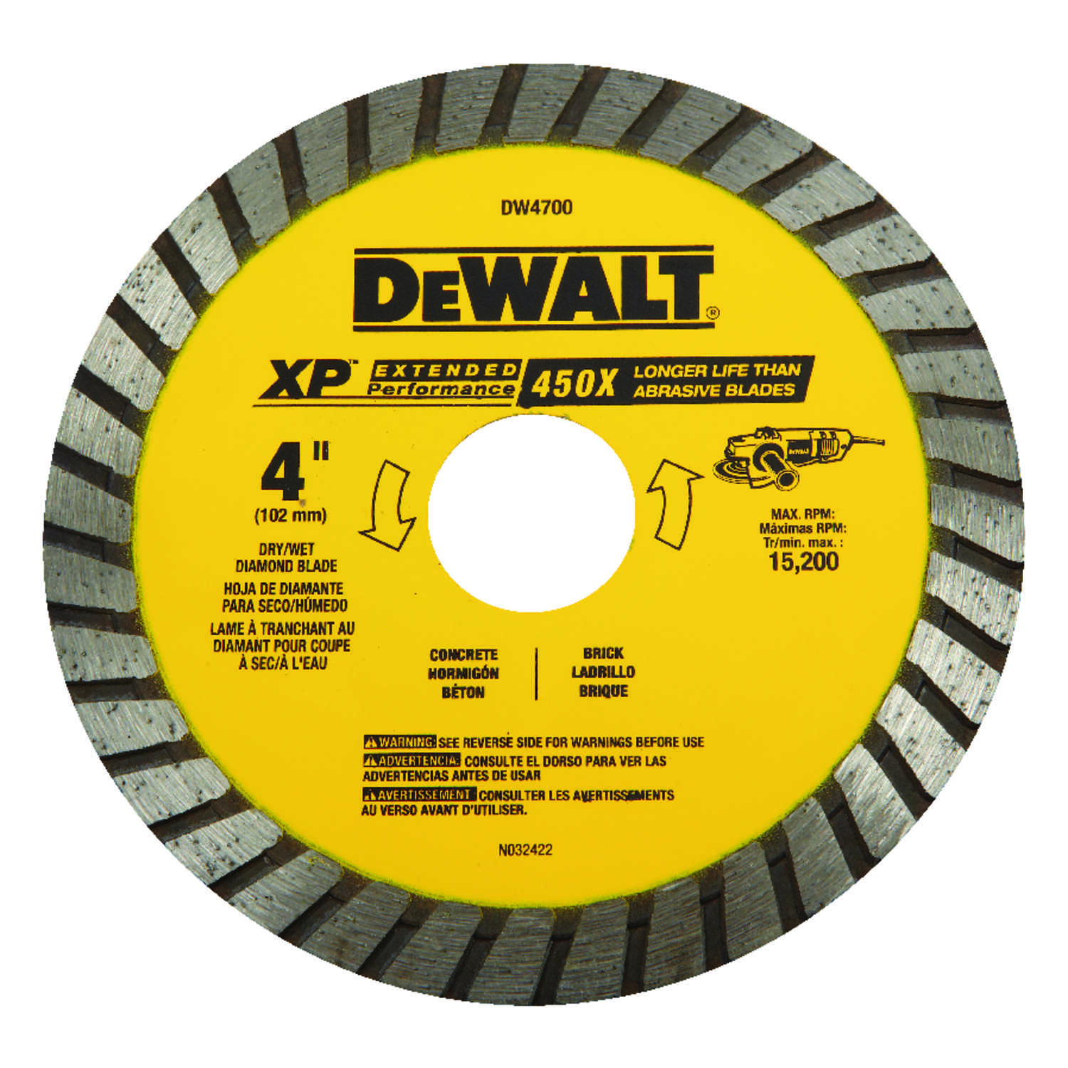 DeWalt  4 in. Dia. x 7/8 in.  Diamond  XP Extended Performance  Masonry Blade  1 pk