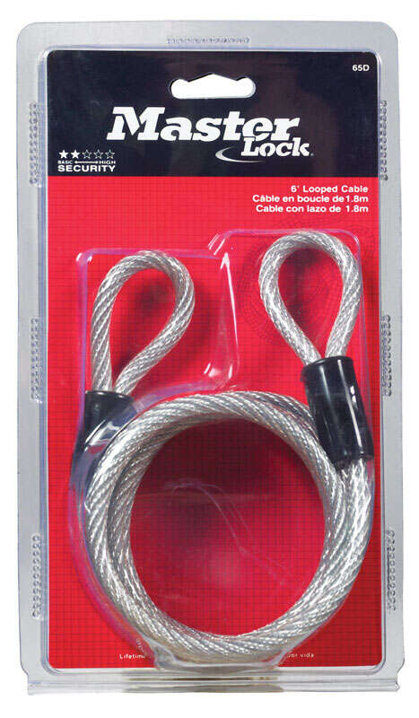 Master Lock  1/4 in. Dia. x 72 in. L Vinyl Coated Steel  Coiled Cable