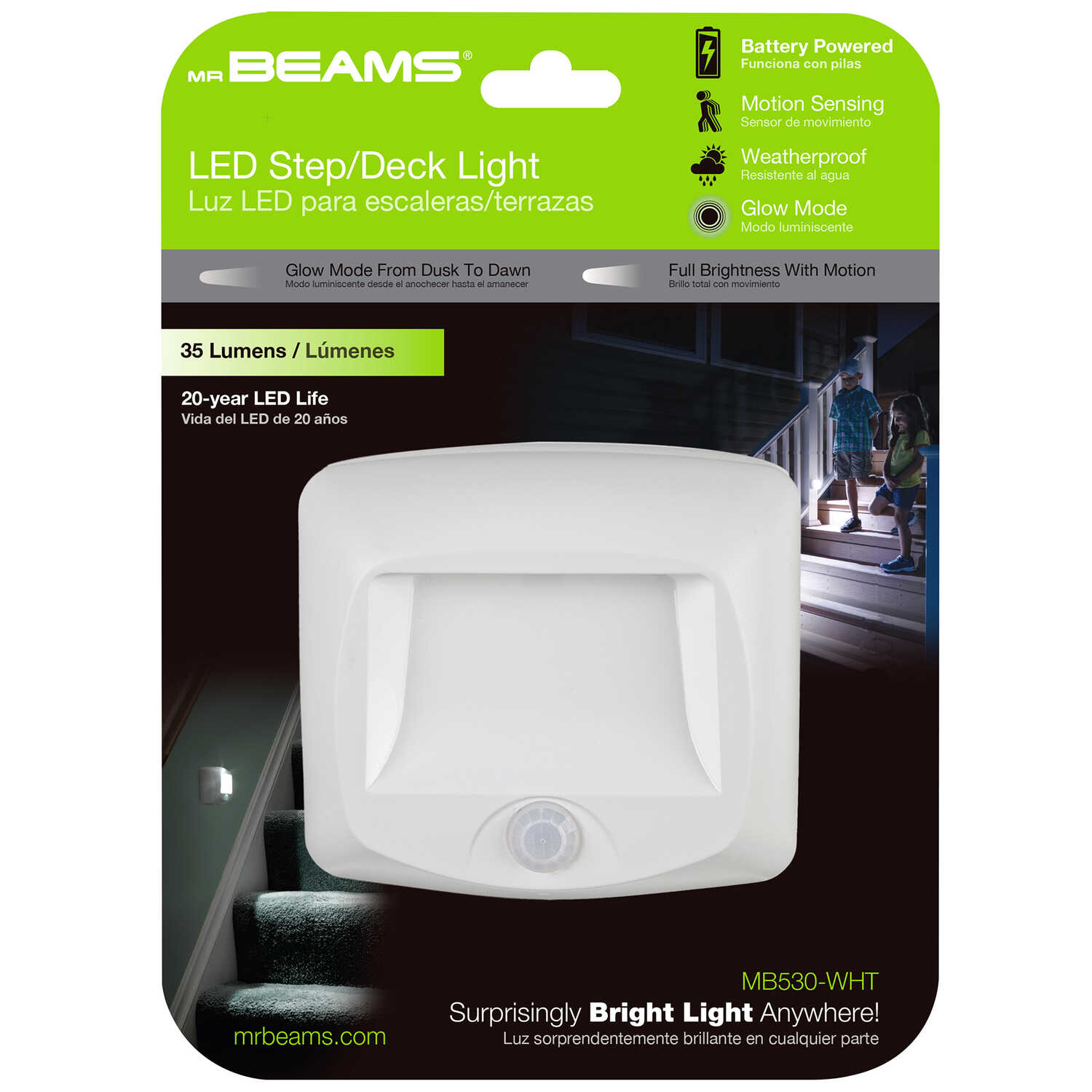 Mr. Beams  Motion-Sensing  Battery Powered  LED  White  Stair Light