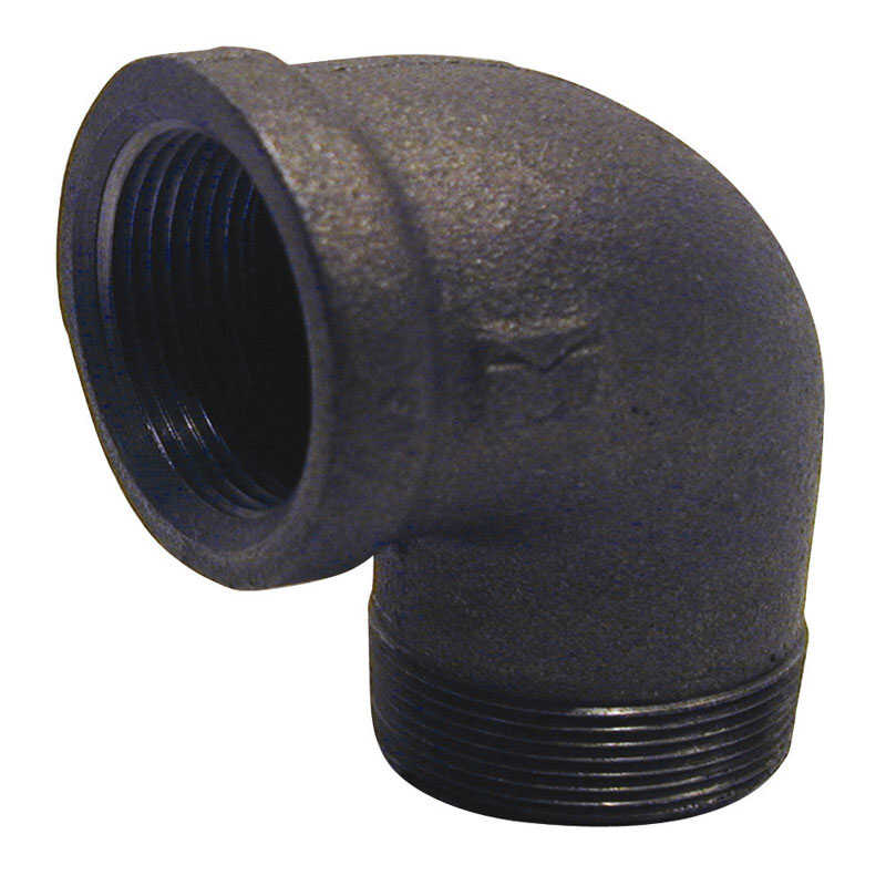 B & K  1-1/2 in. FPT   x 1-1/2 in. Dia. MPT  Black  Malleable Iron  Street Elbow