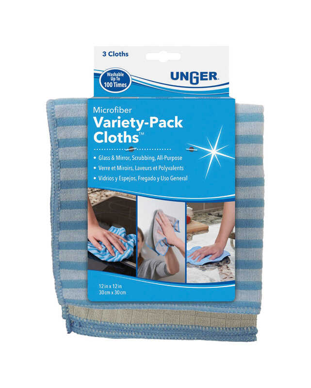 Unger  Microfiber  Cleaning Cloth  12 in. W x 12 in. L 3 pk