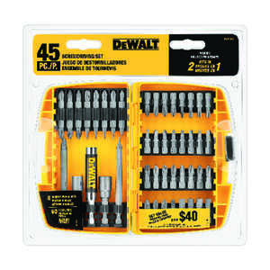 DeWalt  Multi Size in.  x 2 in. L Screwdriver Bit  Heat-Treated Steel  1/4 in. 45 pc.
