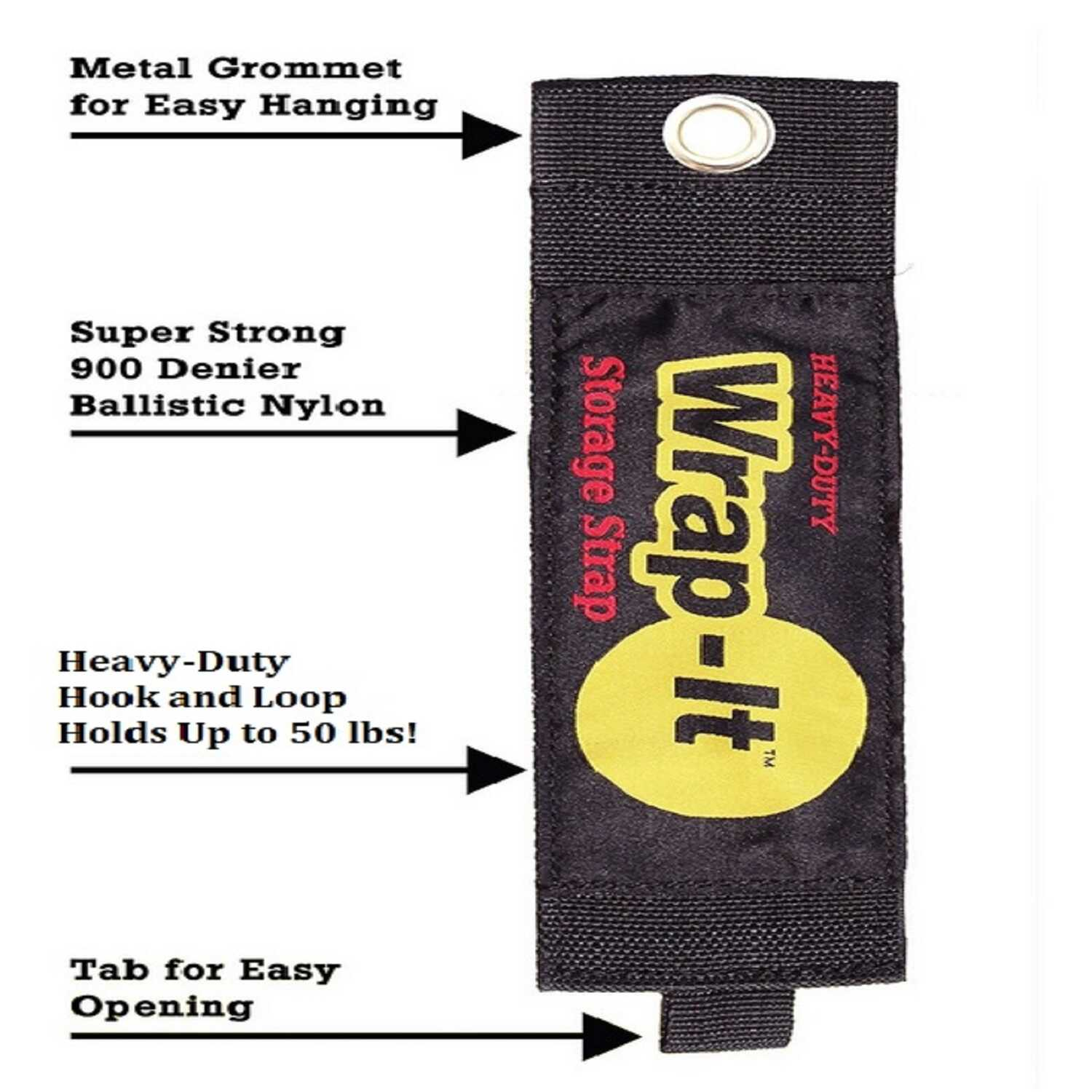 Wrap-It Storage  3 in. W x 24 in. L Black  Bundling Strap  150 lb. 1 pk