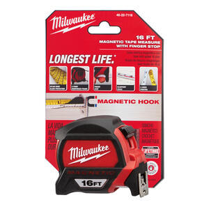 Milwaukee  16 ft. L x 1.83 in. W Magnetic Tape Measure  Red  1 pk