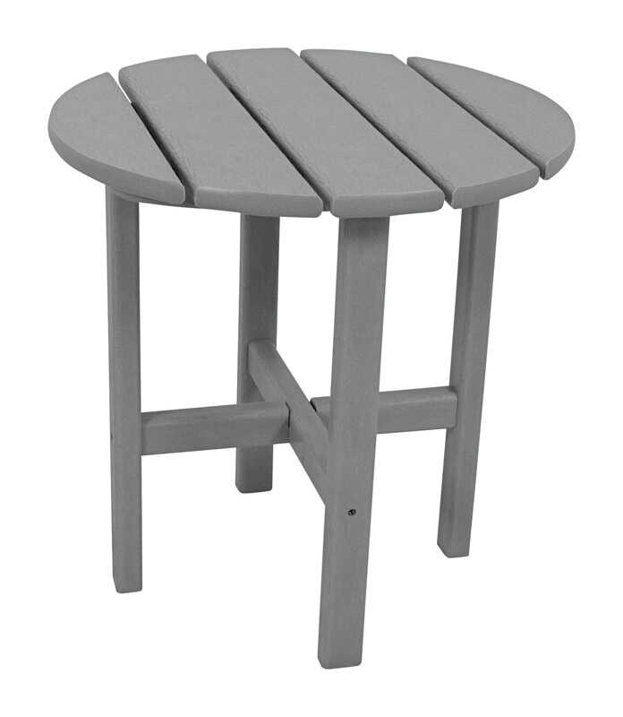 Ivy Terrace  Gray  Classic  Plastic  End Table  Round