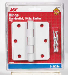 Ace  3-1/2 in. L White  Steel  Residential Door Hinge  1 pk
