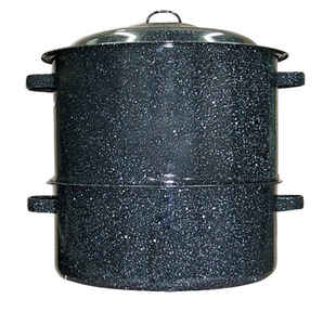 Columbian Home  Graniteware  Ceramic Over Steel  Clam Steamer  19 qt. Black
