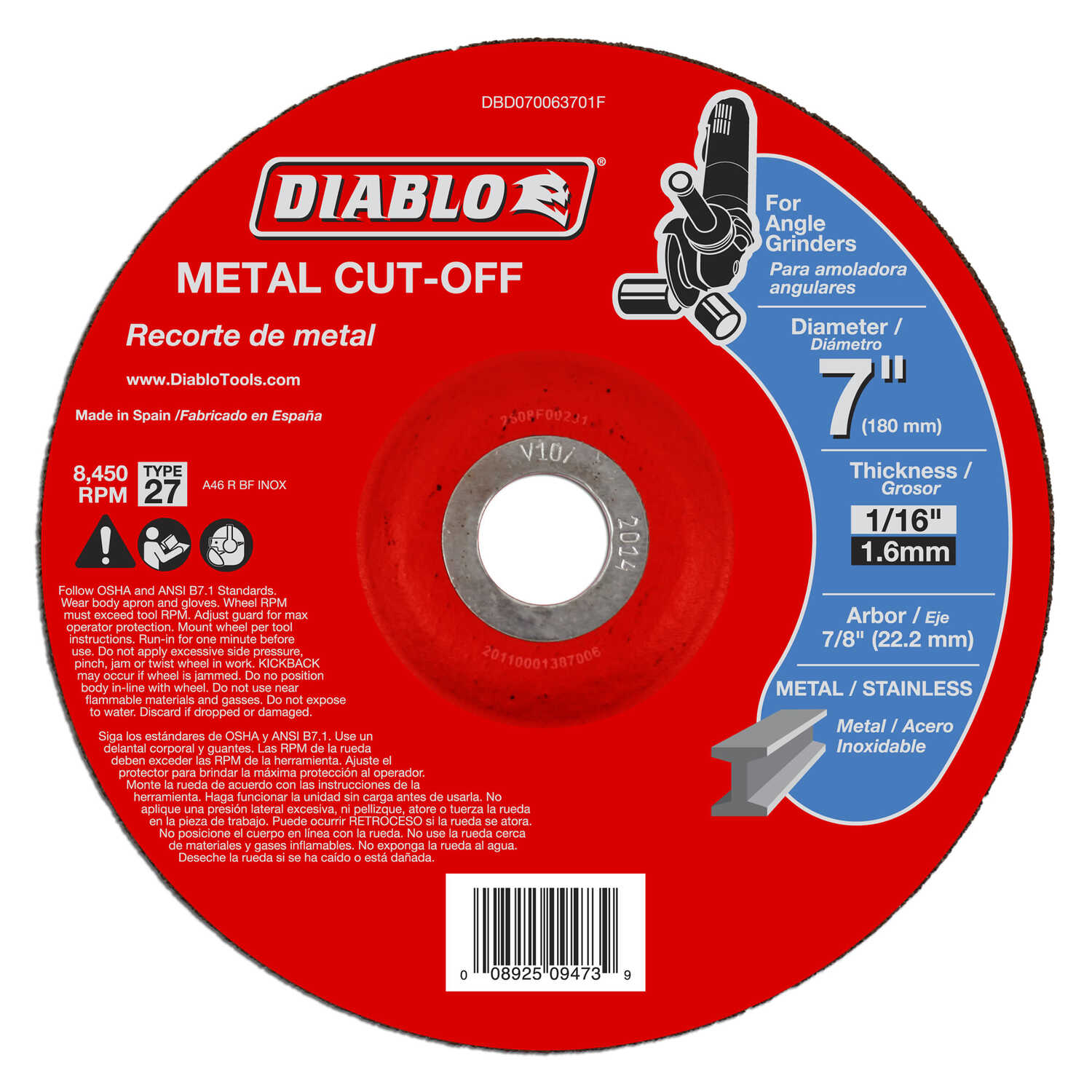 Diablo  7 in. Aluminum Oxide  Metal Cut-Off Disc  1/16 in.  x 7/8 in.   1 pk
