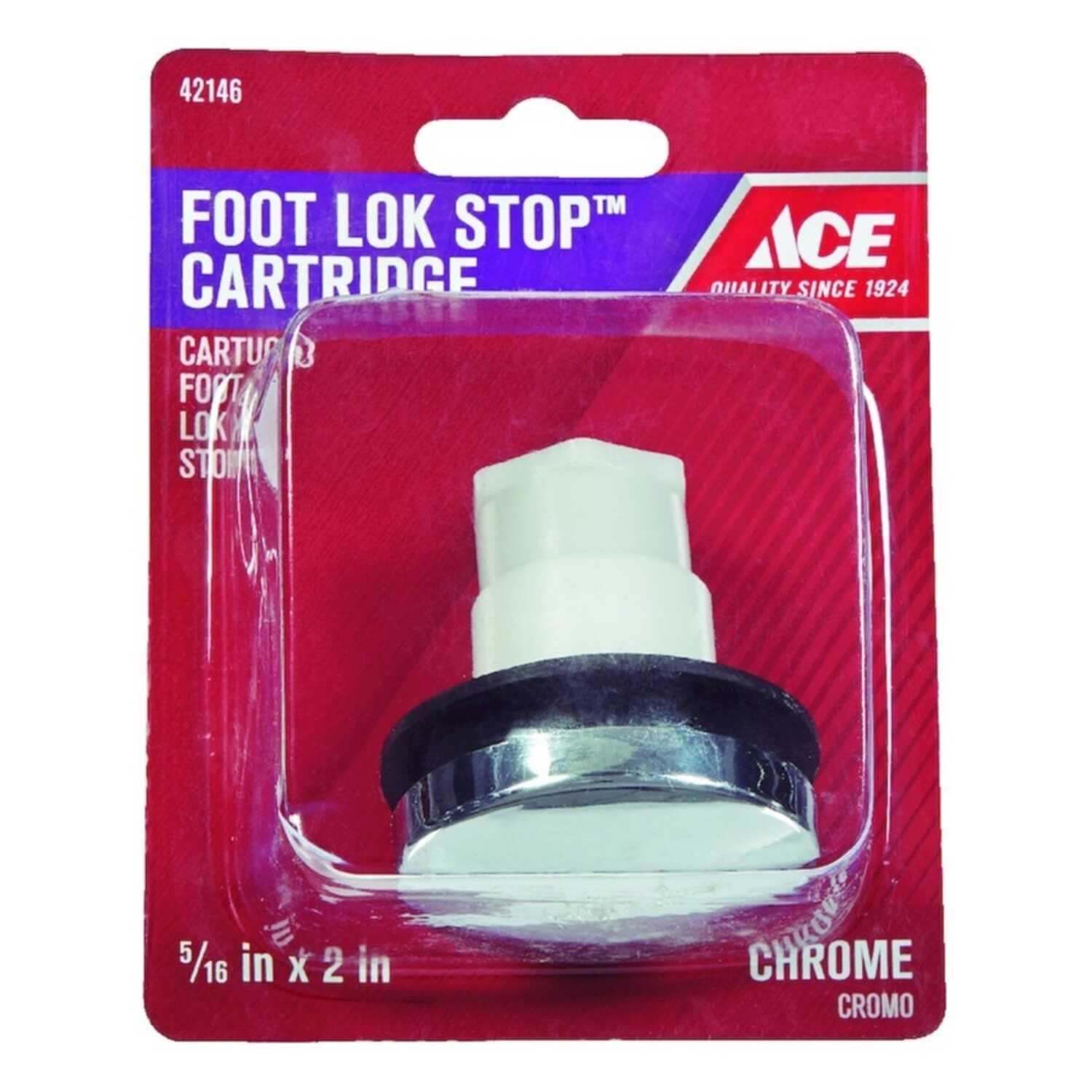Ace  Foot Lok Stop Cartridge  5/16 in. Dia. Polished Chrome  Plastic  Tub Stopper