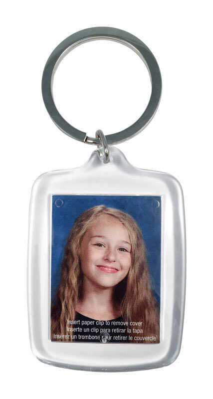 Hy-Ko  1-1/8 in. Dia. Acrylic  Clear  Photo  Key Chain