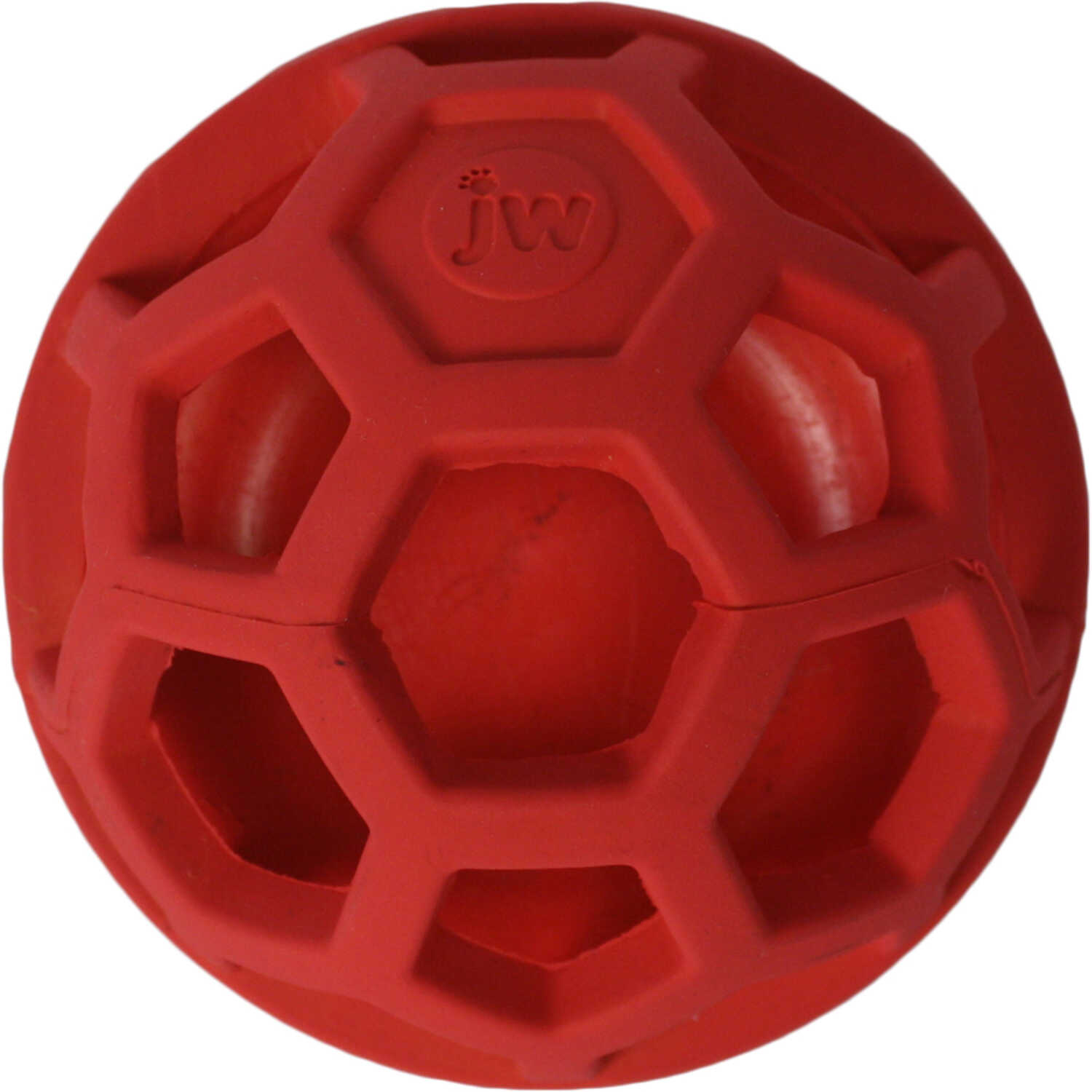 JW Pet  Red  Rubber  Flexible Toy/Treat Dispenser  Medium  Treat N Squeak Ball