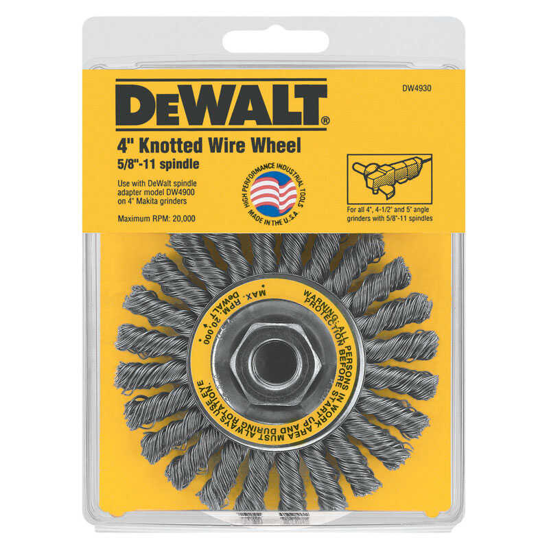 DeWalt  4 in. Knotted  Wire Wheel Brush  Carbon Steel  20000 rpm 1 pc.