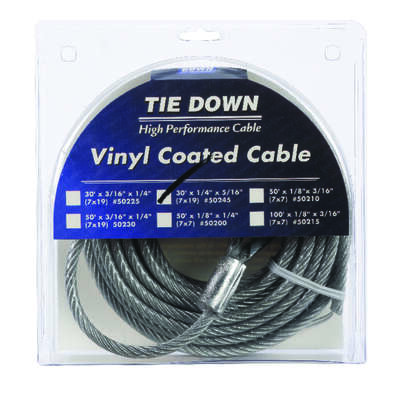 Tie Down Engineering  Vinyl Coated  Galvanized Steel  1/4 in. Dia. x 30 ft. L Aircraft Cable