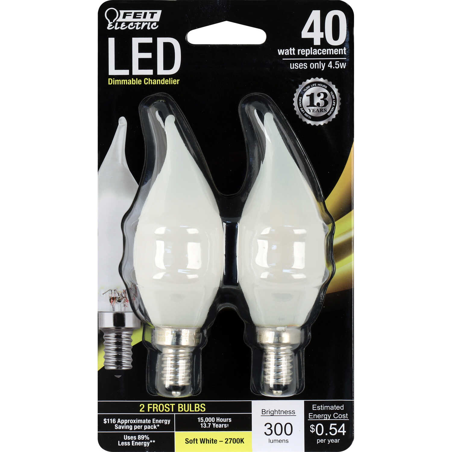 FEIT Electric  CA10  E12 (Candelabra)  LED Bulb  Soft White  40 Watt Equivalence 2 pk