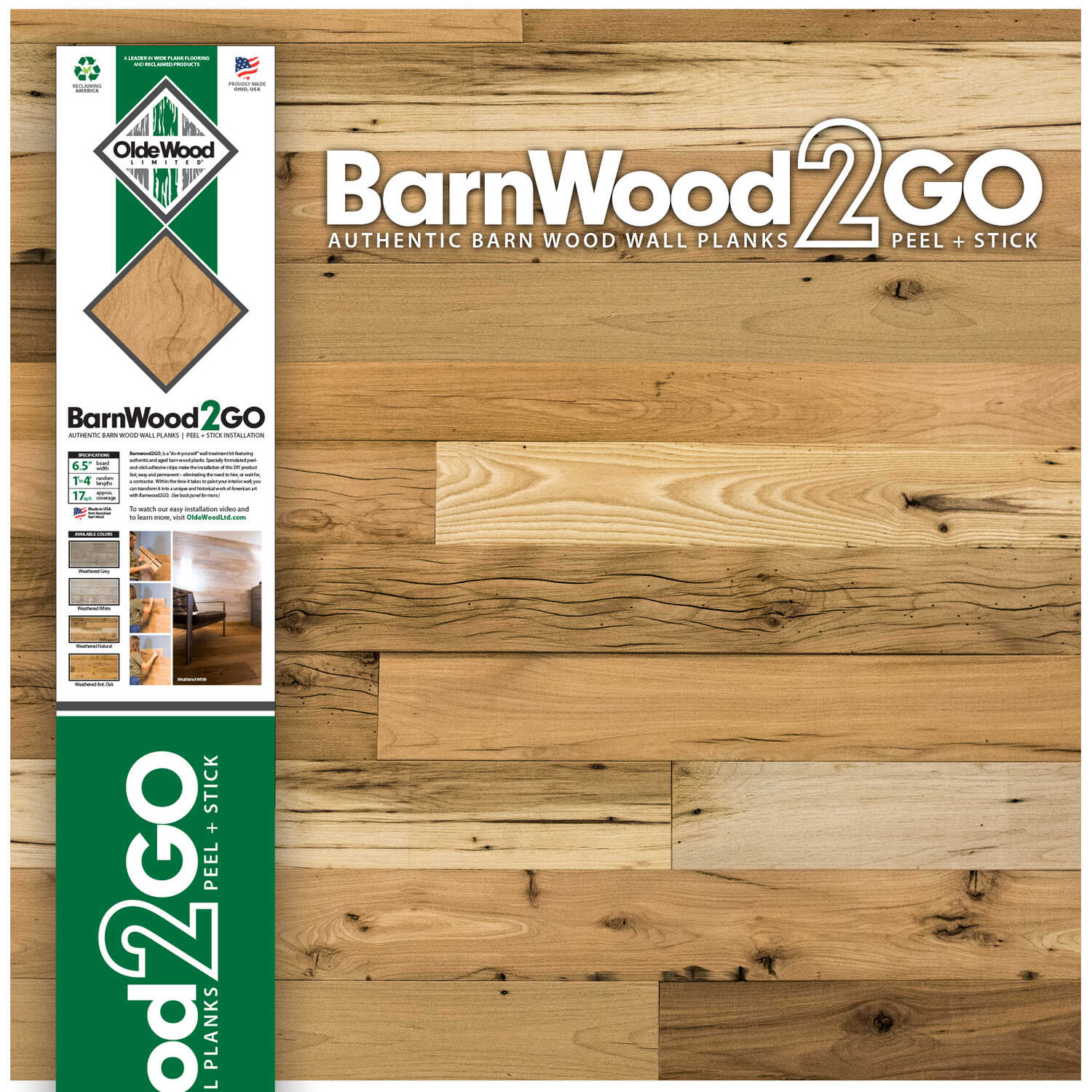 OldeWood Limited  BarnWood2GO  5/16 in. H x 5-1/2 in. W x 48 in. L Weathered  Natural  Wood  Wall Pl