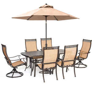 Hanover  8 pc. Bronze  Aluminum  Rectangle Table with Umbrella  Patio Set  Cedar
