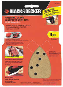 Black and Decker  Mouse  6 in. L x 4 in. W 120 Grit Medium  Aluminum Oxide  5 pk Sandpaper