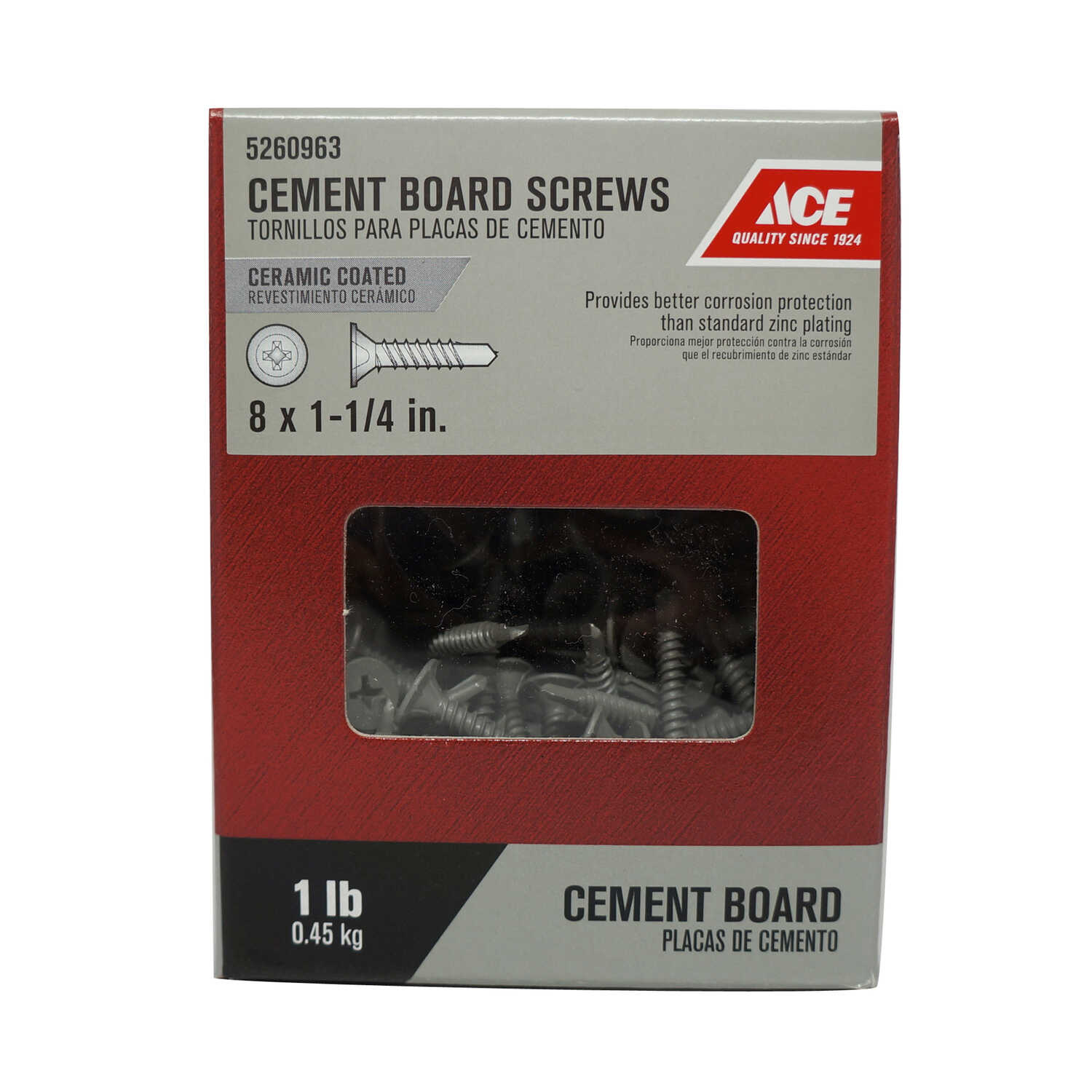 Ace  No. 8   x 1-1/4 in. L Phillips  Wafer Head Ceramic  Steel  Cement Board Screws  1 lb. 172 pk
