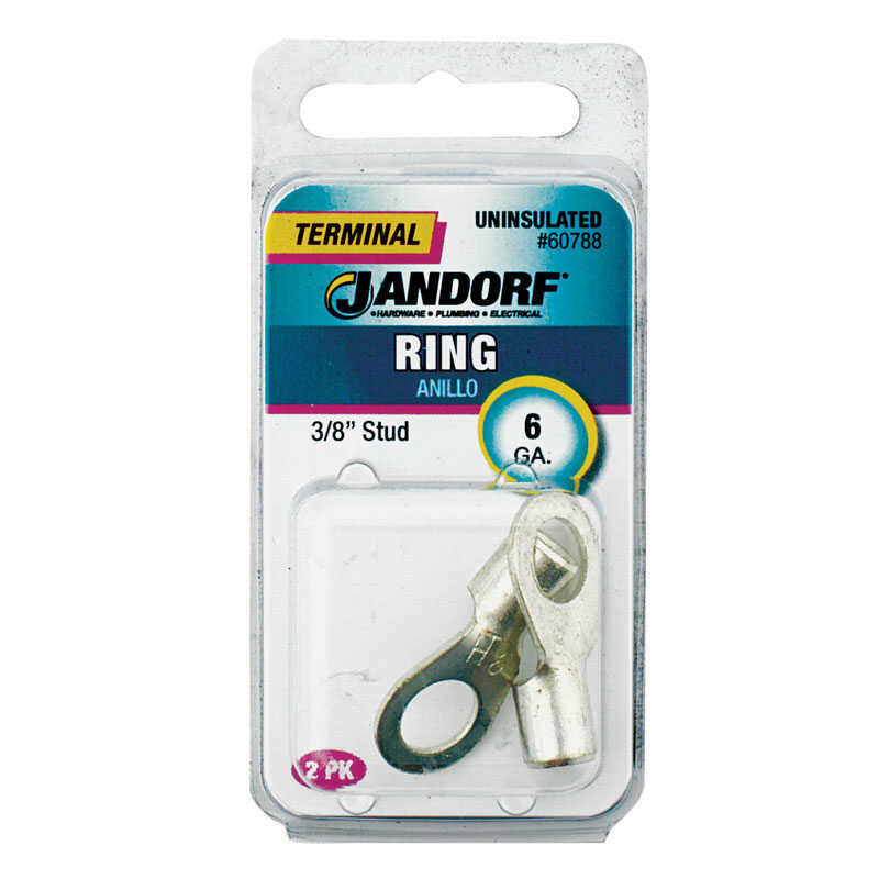 Jandorf  6 Ga. Uninsulated Wire  Terminal Ring  Silver  2 pk