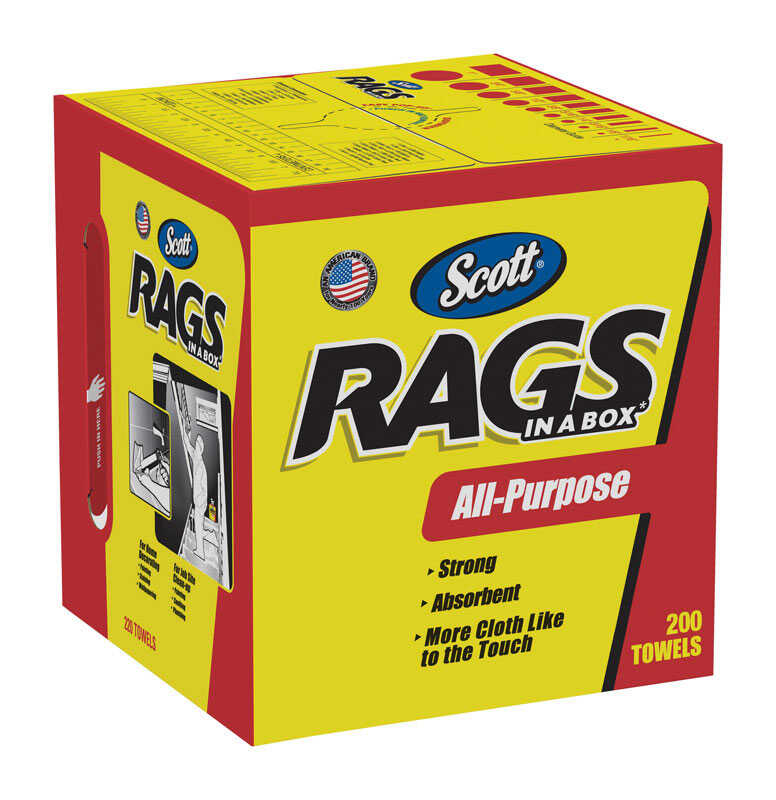 Scott  Rags in a Box  Paper  Cleaning Cloth  12 in. W x 10 in. L 200 count