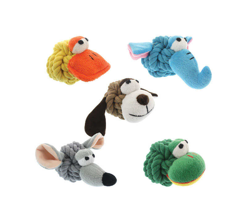 MultiPet  Multicolored  Rope Head Animals  Plush/Rope  Small  Dog Toy