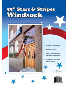 Valley Forge  Stars and Stripes  Windsock  55 in. H x 55 in. W